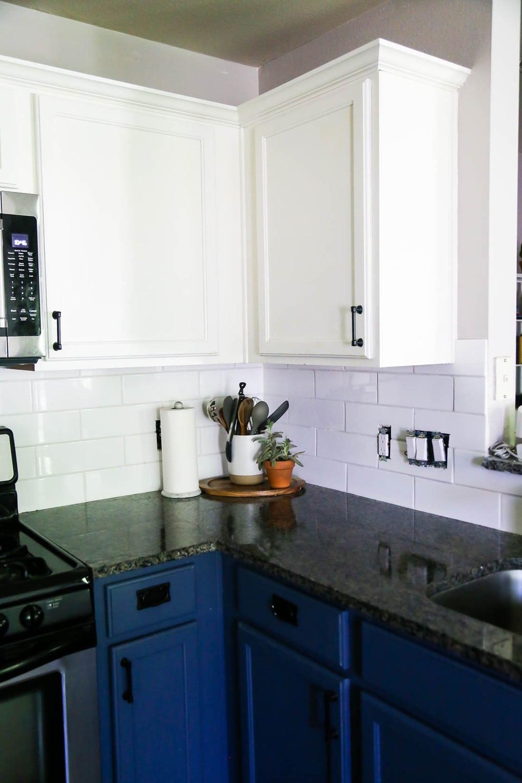 DIY subway tile in kitchen