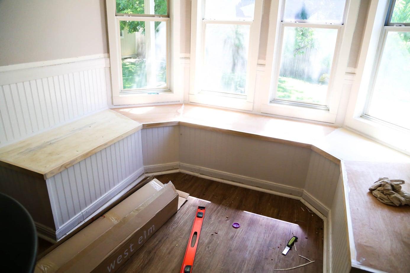 Installing trim on DIY build in window seat