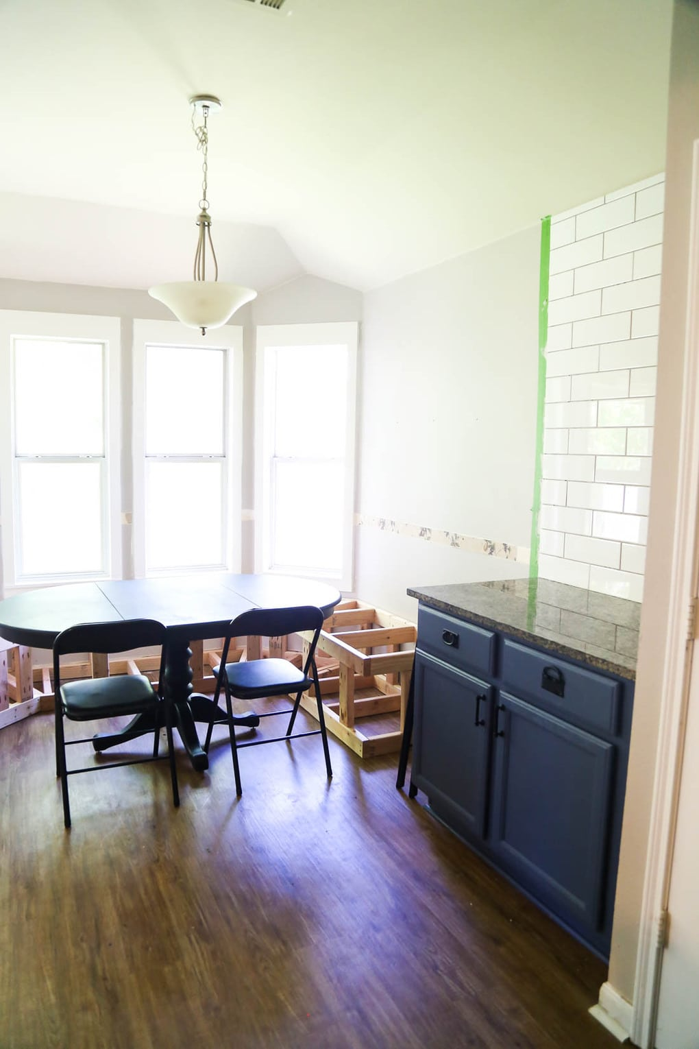 Kitchen Banquette Seating & Tiling (One Room Challenge Week 3)