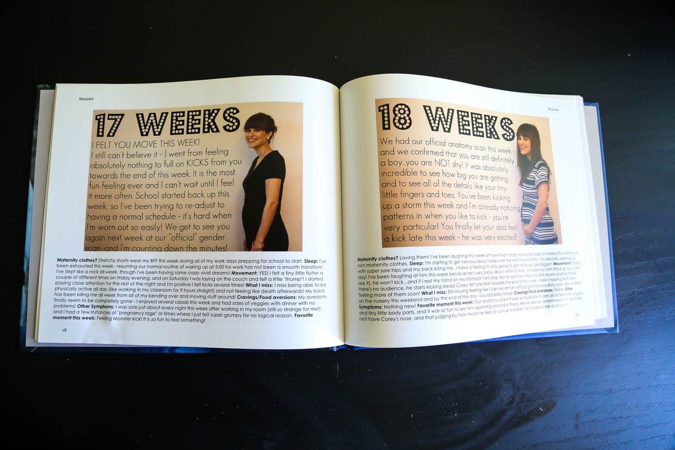 Inside of DIY pregnancy memory book