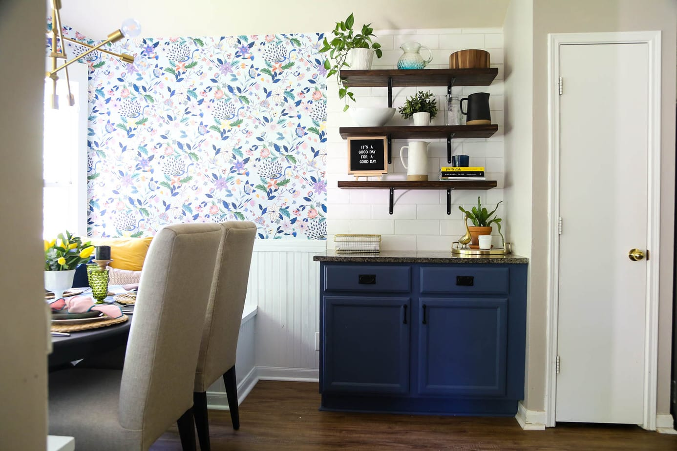 open shelving in kitchen nook