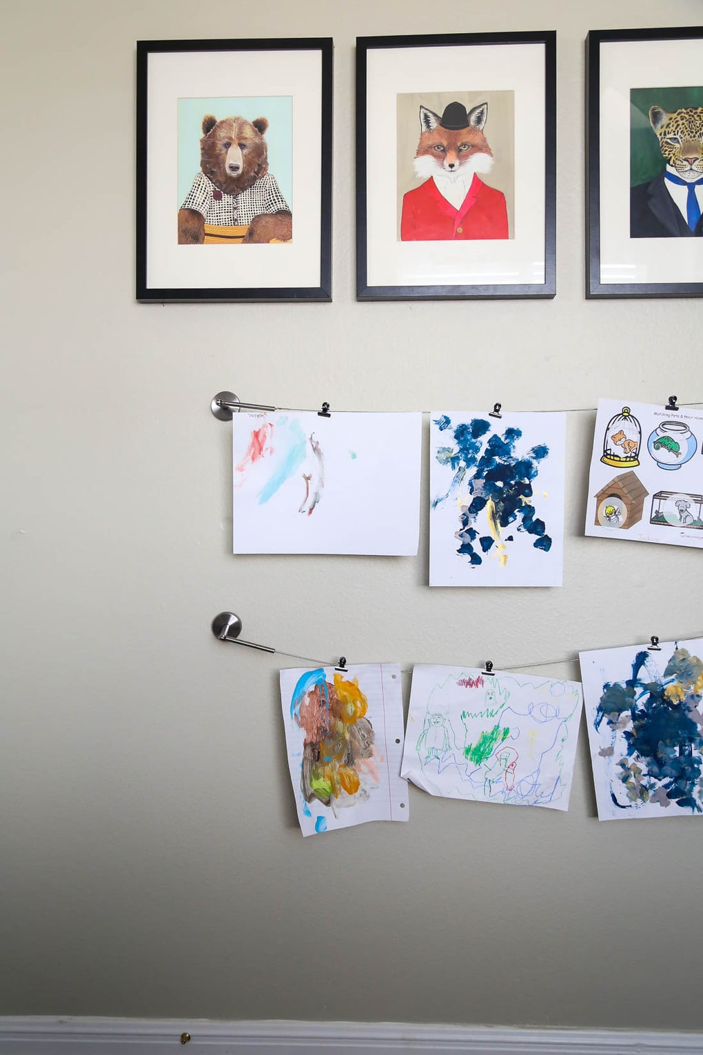 kids artwork display