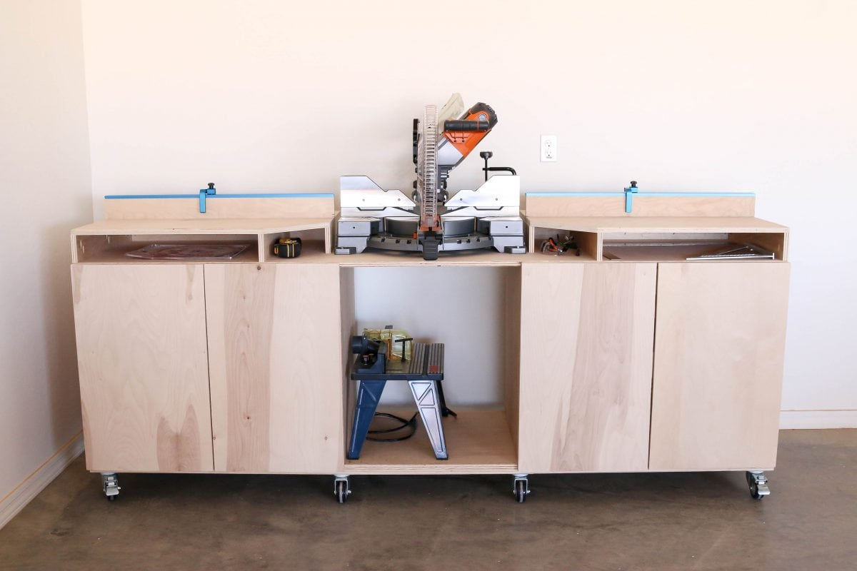 mobile miter saw bench - tool organization ideas