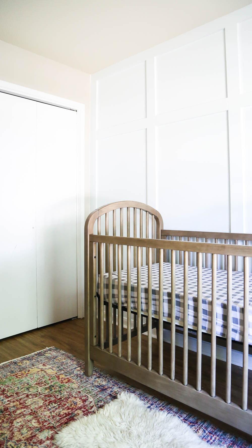 diy board and batten accent wall in nursery