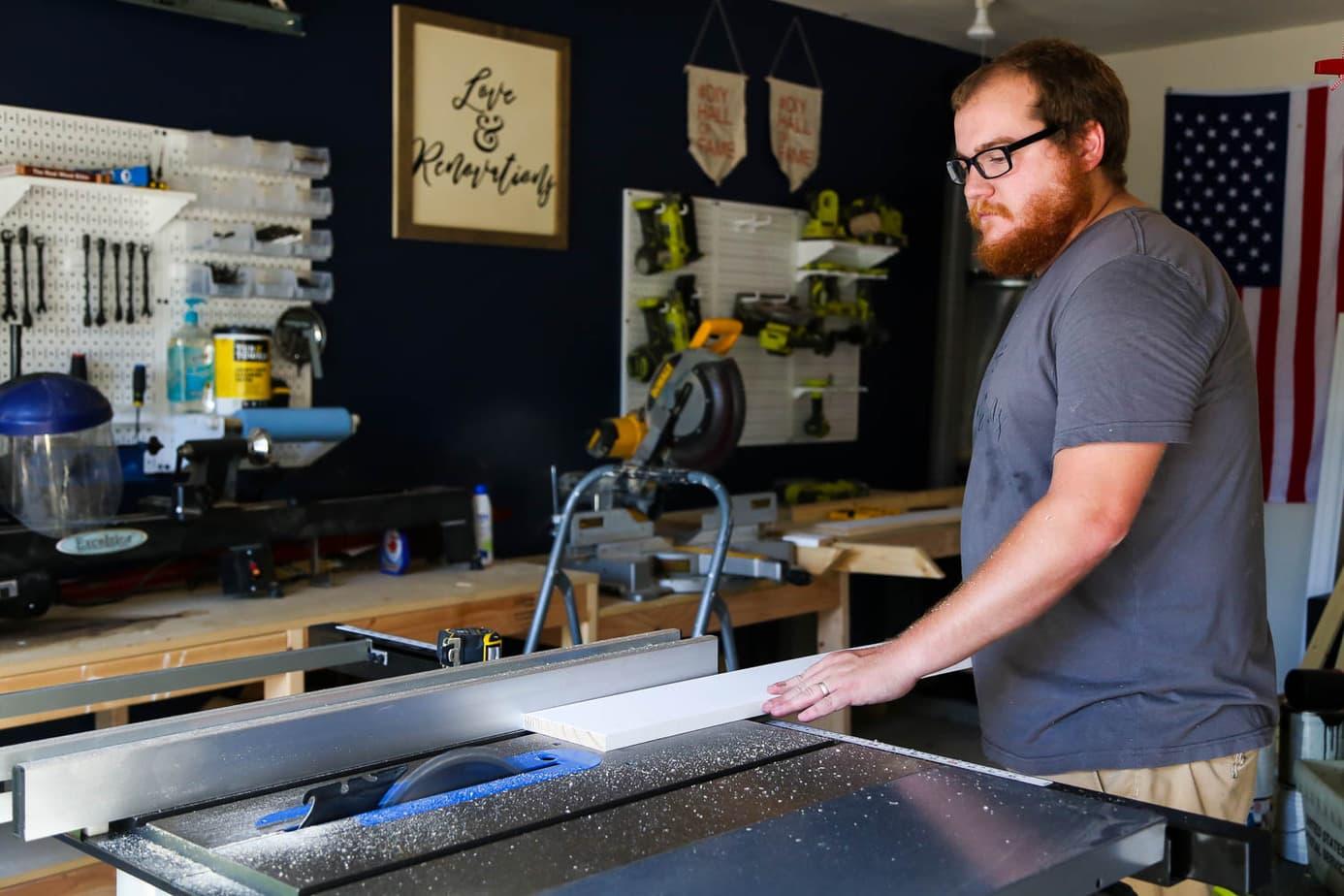 cutting windowsill for DIY window trim