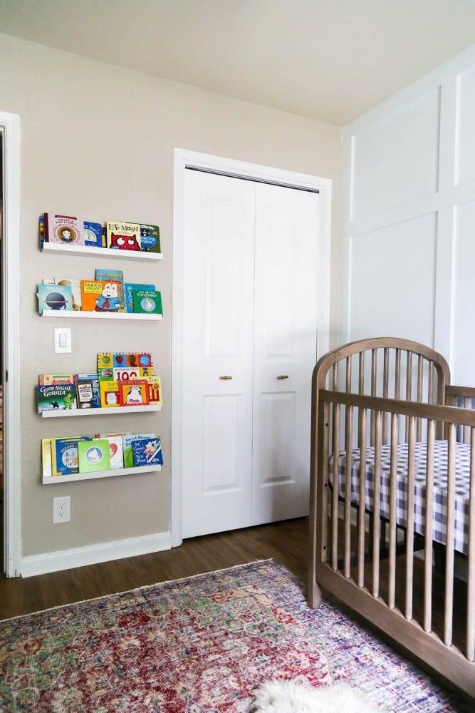 nursery with book shelves