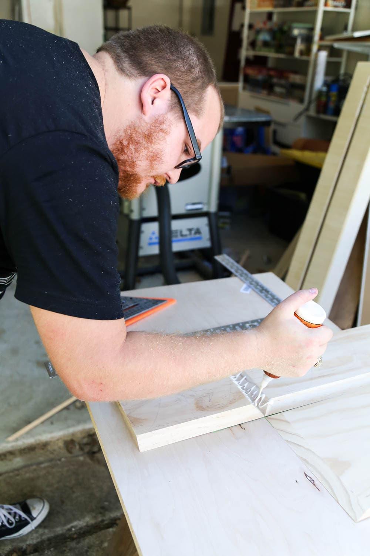 build box for DIY fireplace mantel