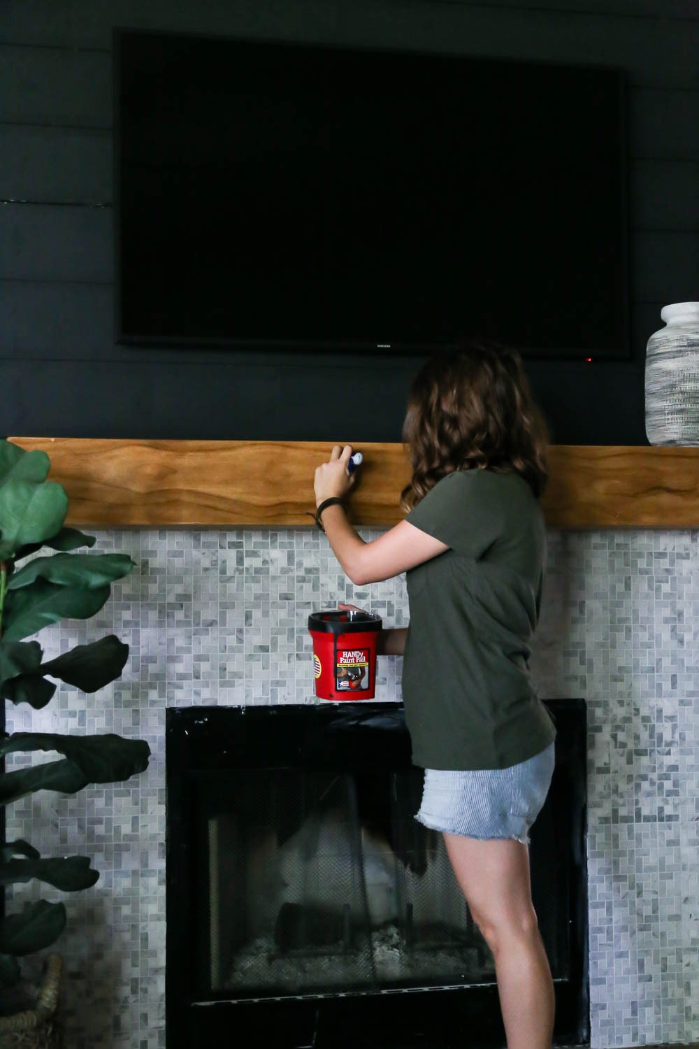 installing diy fireplace mantel