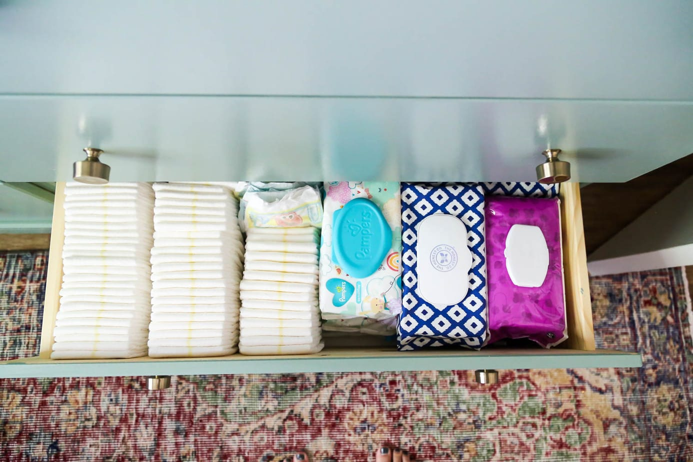 organizing diaper changing station