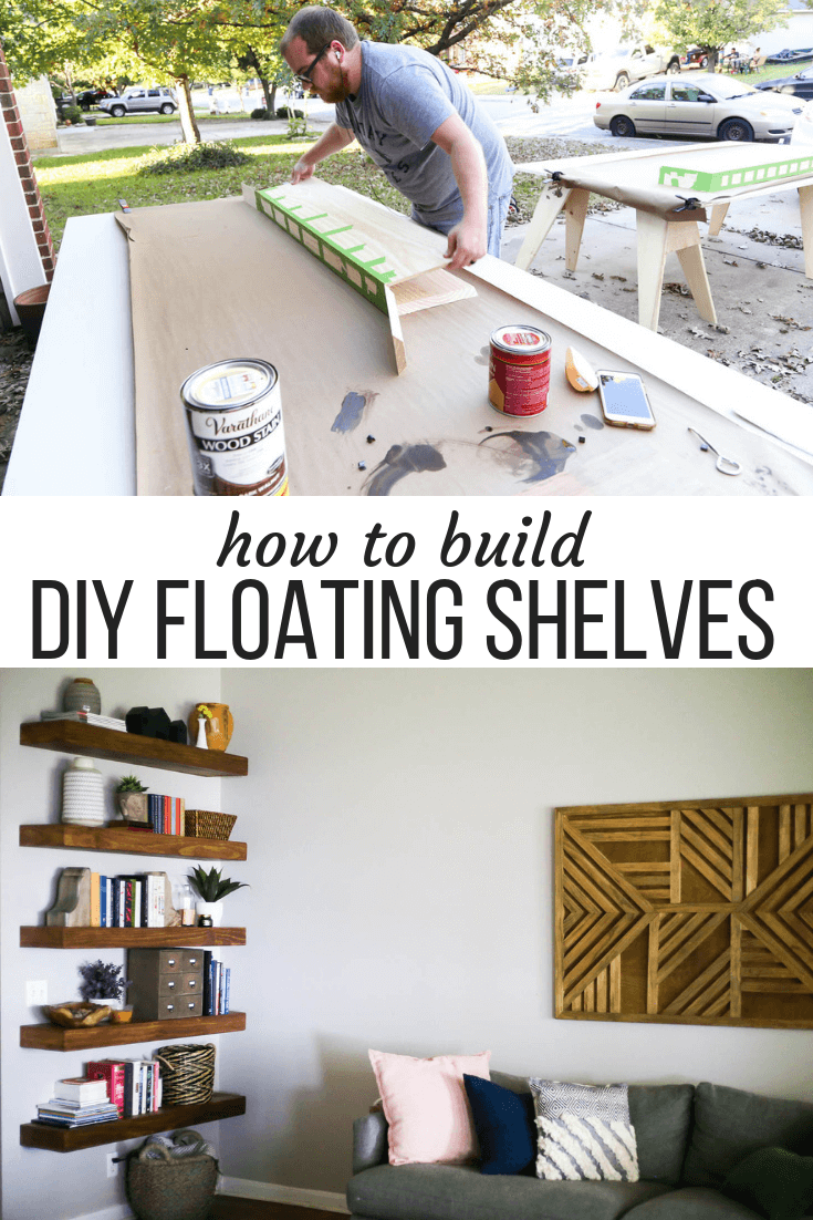 "collage of man building shelves and floating shelves in living room with text overlay ""how to build DIY floating shelves"""