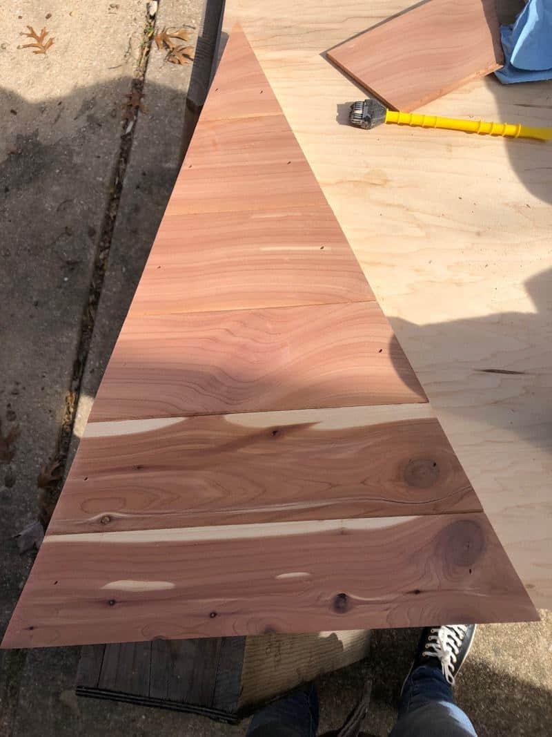 cedar plank christmas tree DIY