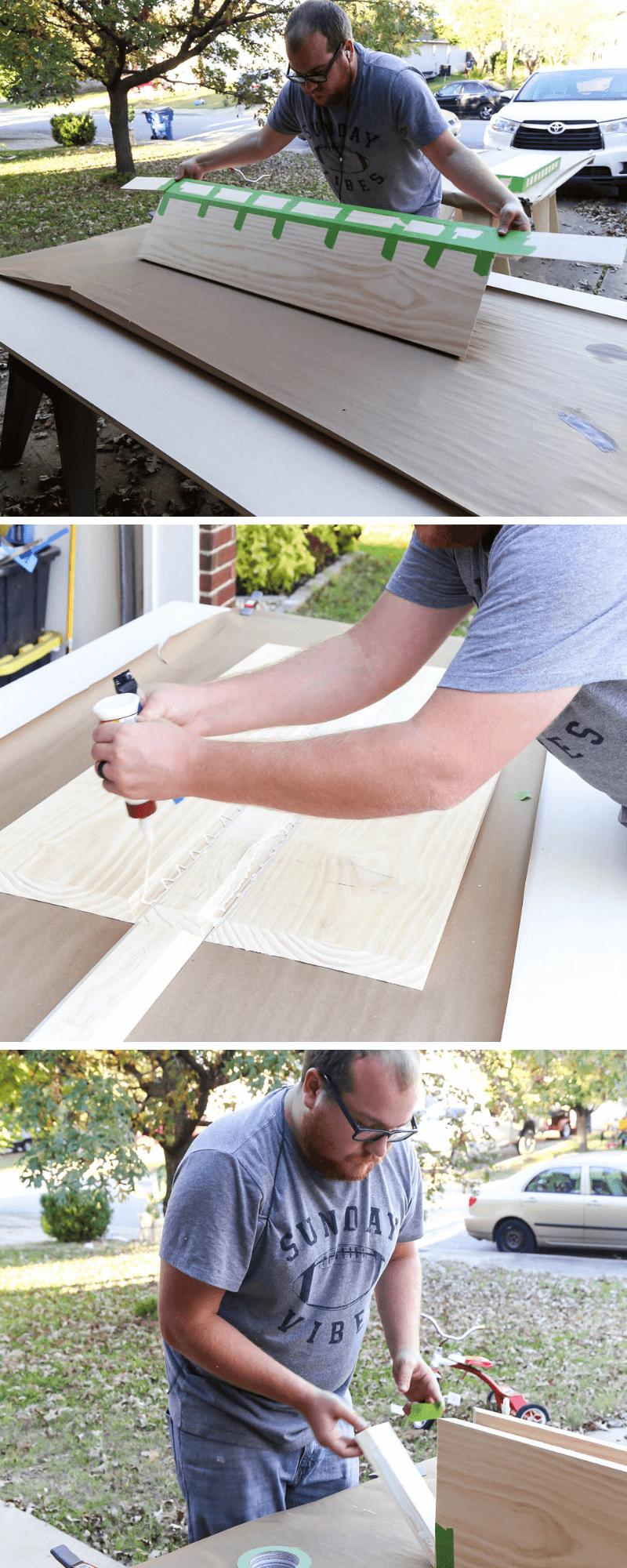 gluing together DIY floating shelves