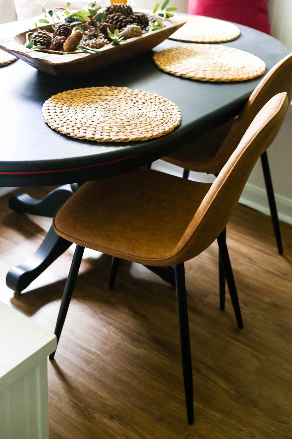 dining room table and leather chair