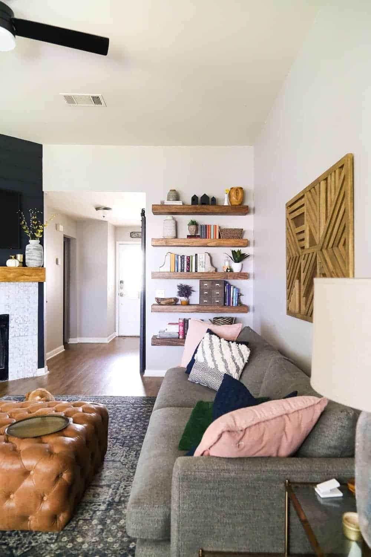 floating shelves in living room