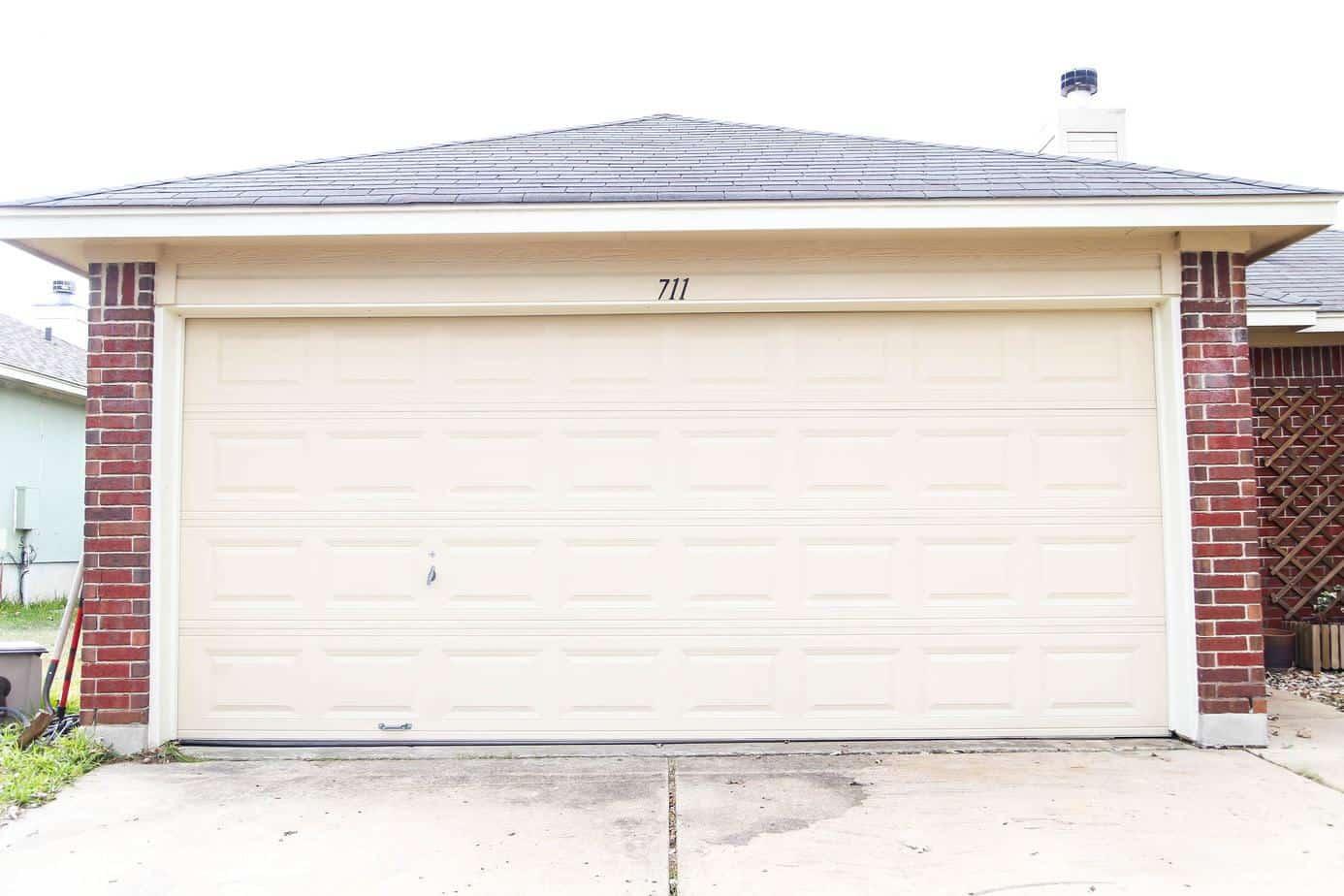 Garage door makeover before