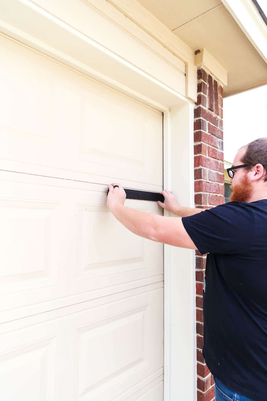 applying magnets to garage door