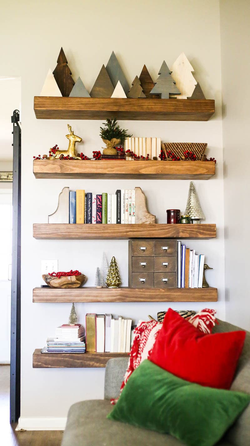 shelves decorated for Christmas
