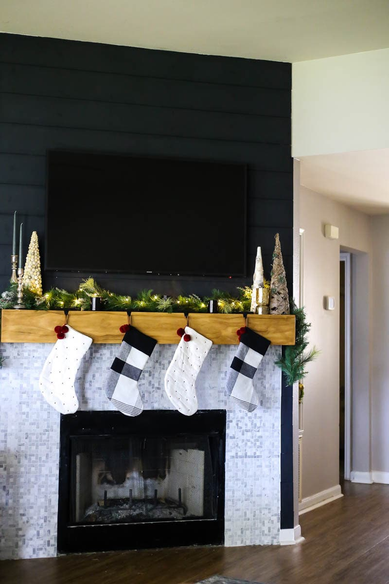 Mantel with Christmas decor