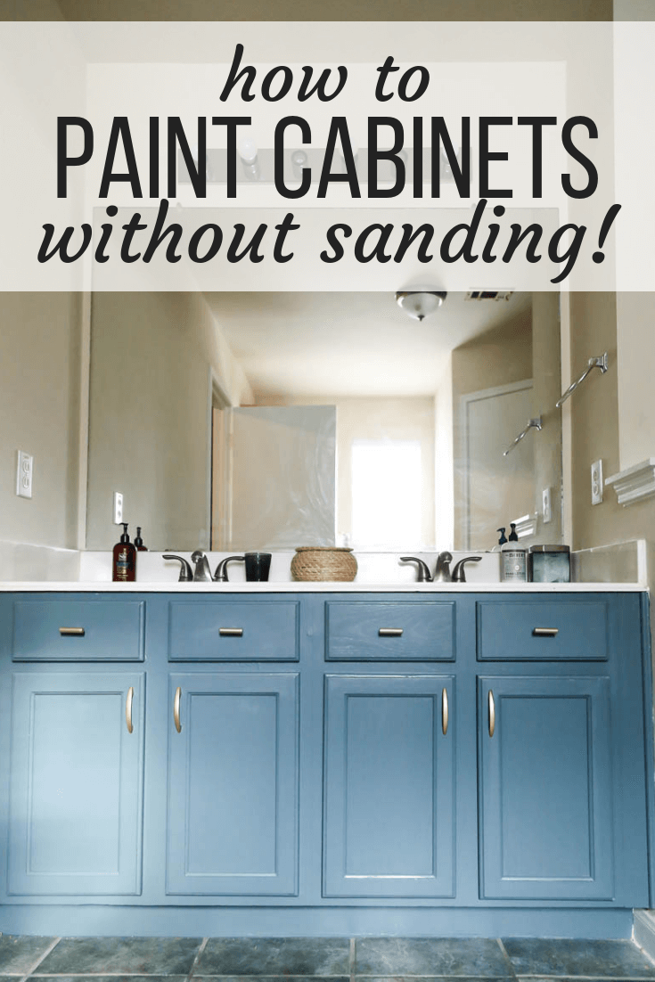 painted vanity with text overlay - how to paint cabinets without sanding