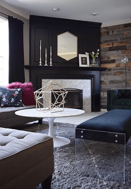 black fireplace makeover
