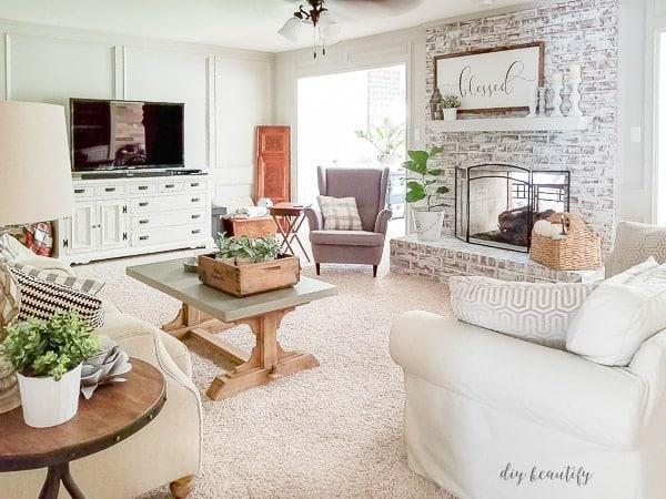 fireplace with whitewashed brick