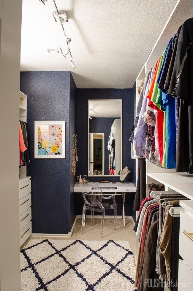 navy blue master closet