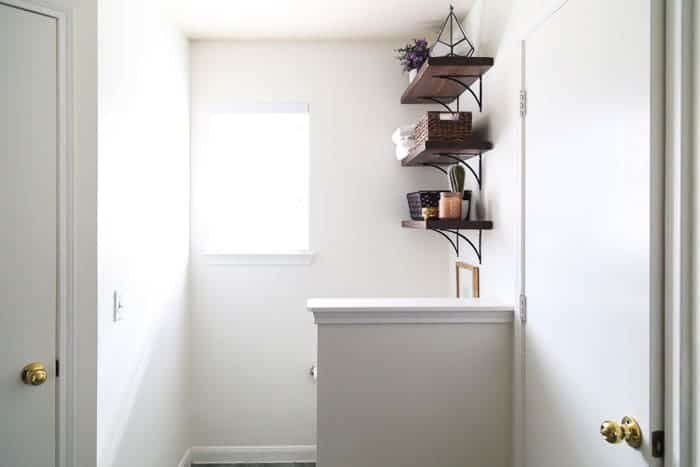 How To Install Diy Open Bathroom Shelves Love Renovations