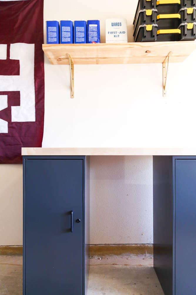 garage wall with easy DIY workbench