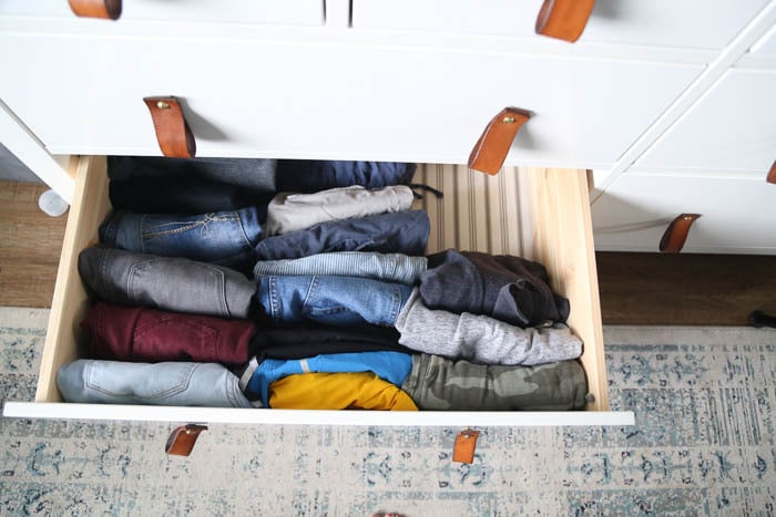 drawer with pants folded using the konmari method