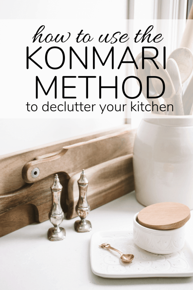 "kitchen tools with text overlay - ""how to use the konmari method to declutter your kitchen"""