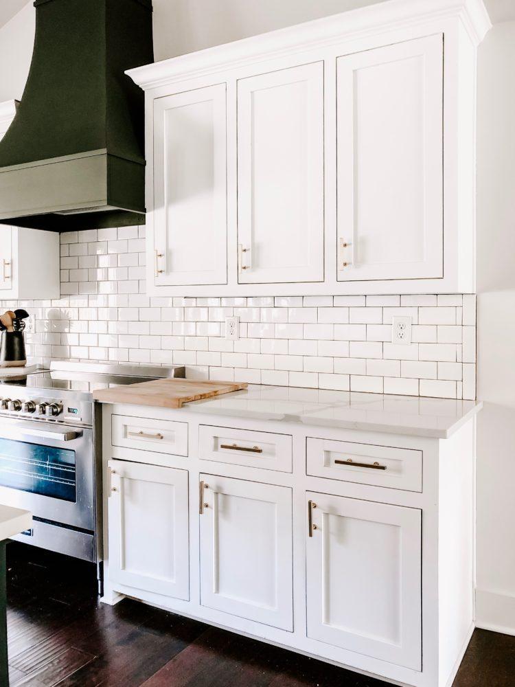 kitchen with white subway tile