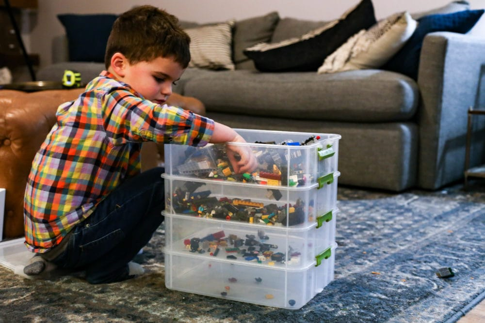 sorting LEGO bricks