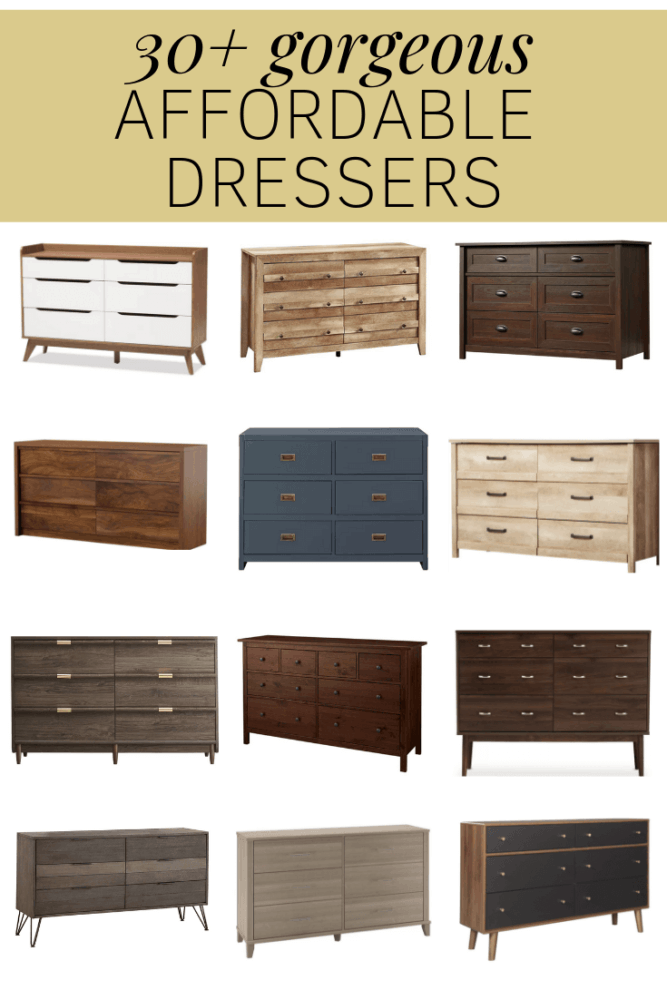 "Collage of cheap dressers with text overlay ""30+ gorgeous affordable dressers"""
