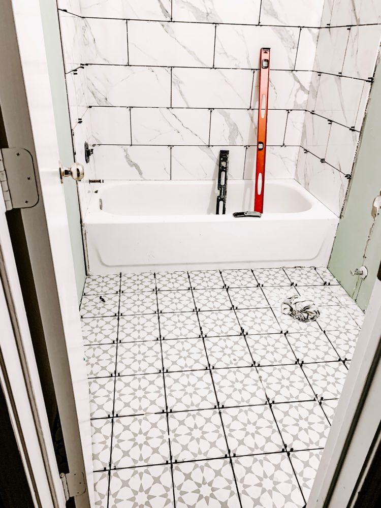 Bathroom with patterned tile