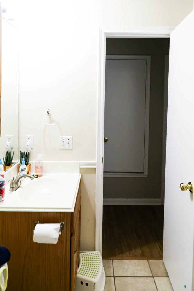 alternate view of bathroom renovation before