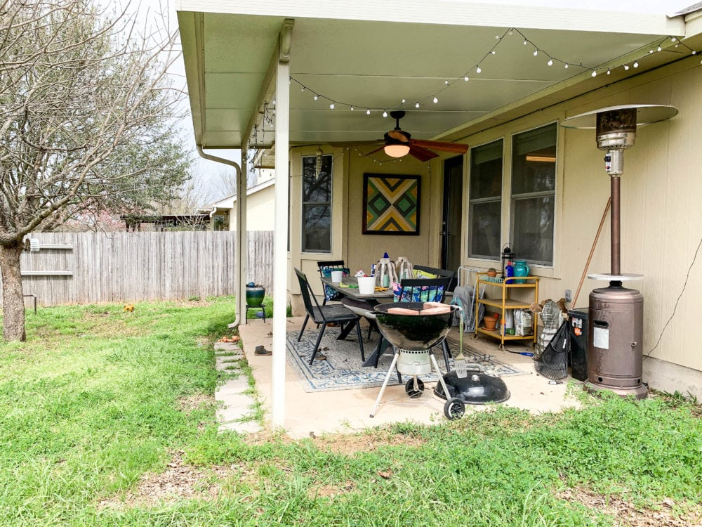 messy patio with clutter