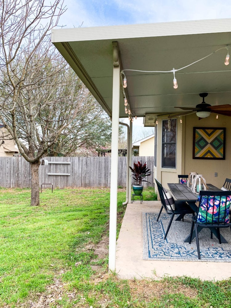 cozy back patio with Enbrighten Seasons cafe lights