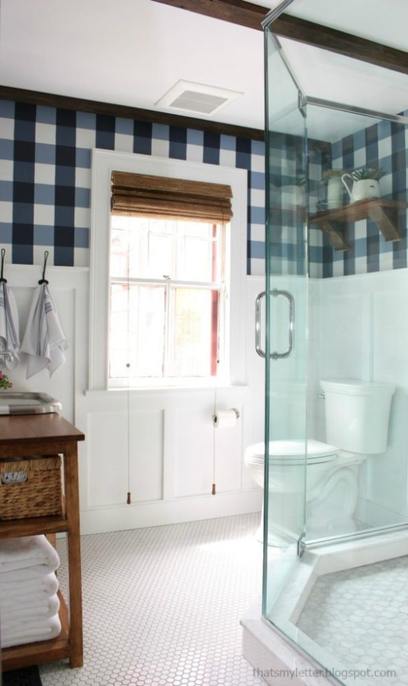 bathroom with gingham wallpaper