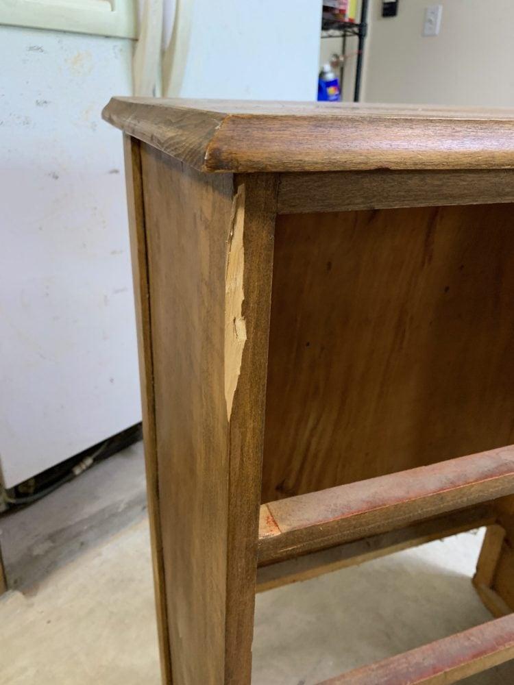 Dresser with a damaged side