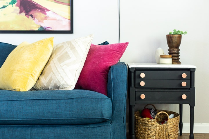 Close up of Crate & Barrel sofa with Comfort Works slipcover