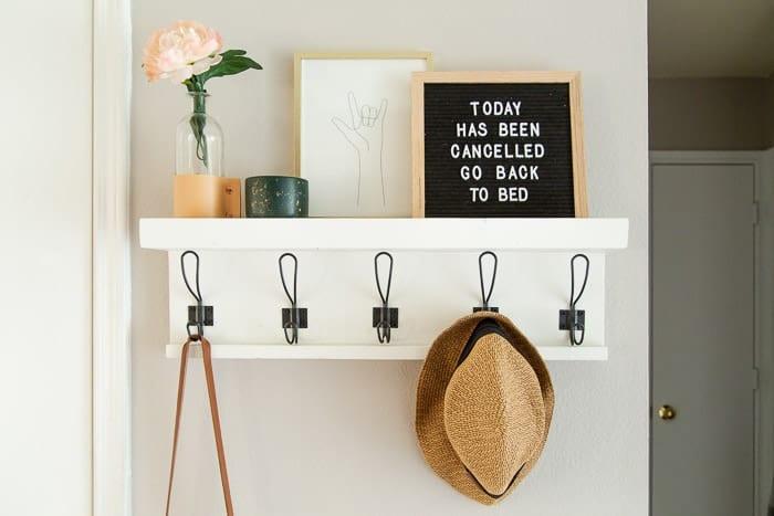 Diy Entry Shelf With Hooks One Hour