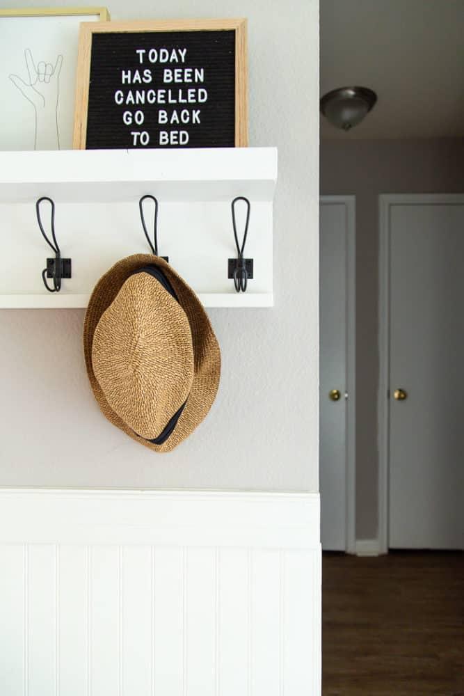 DIY wall shelf and hooks