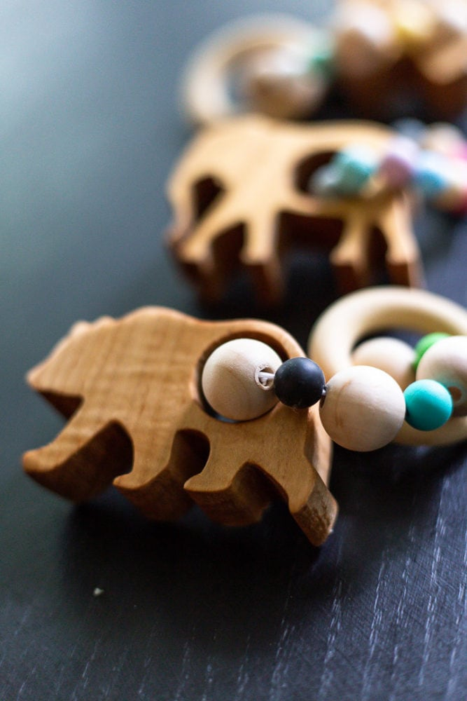 close up of wooden bear teether