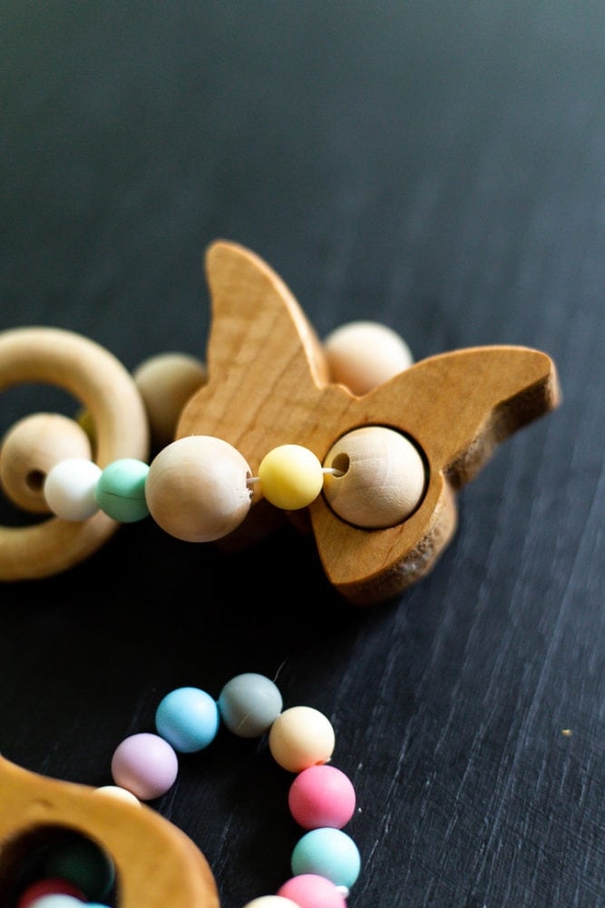 close up of butterfly-shaped baby teether