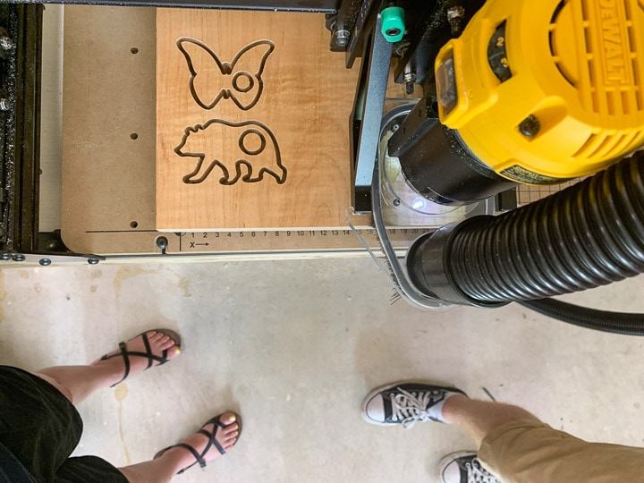 X-Carve machine cutting out animal shapes
