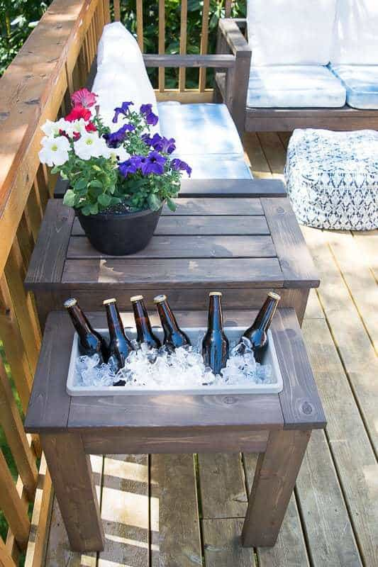 DIY outdoor side table with a cooler