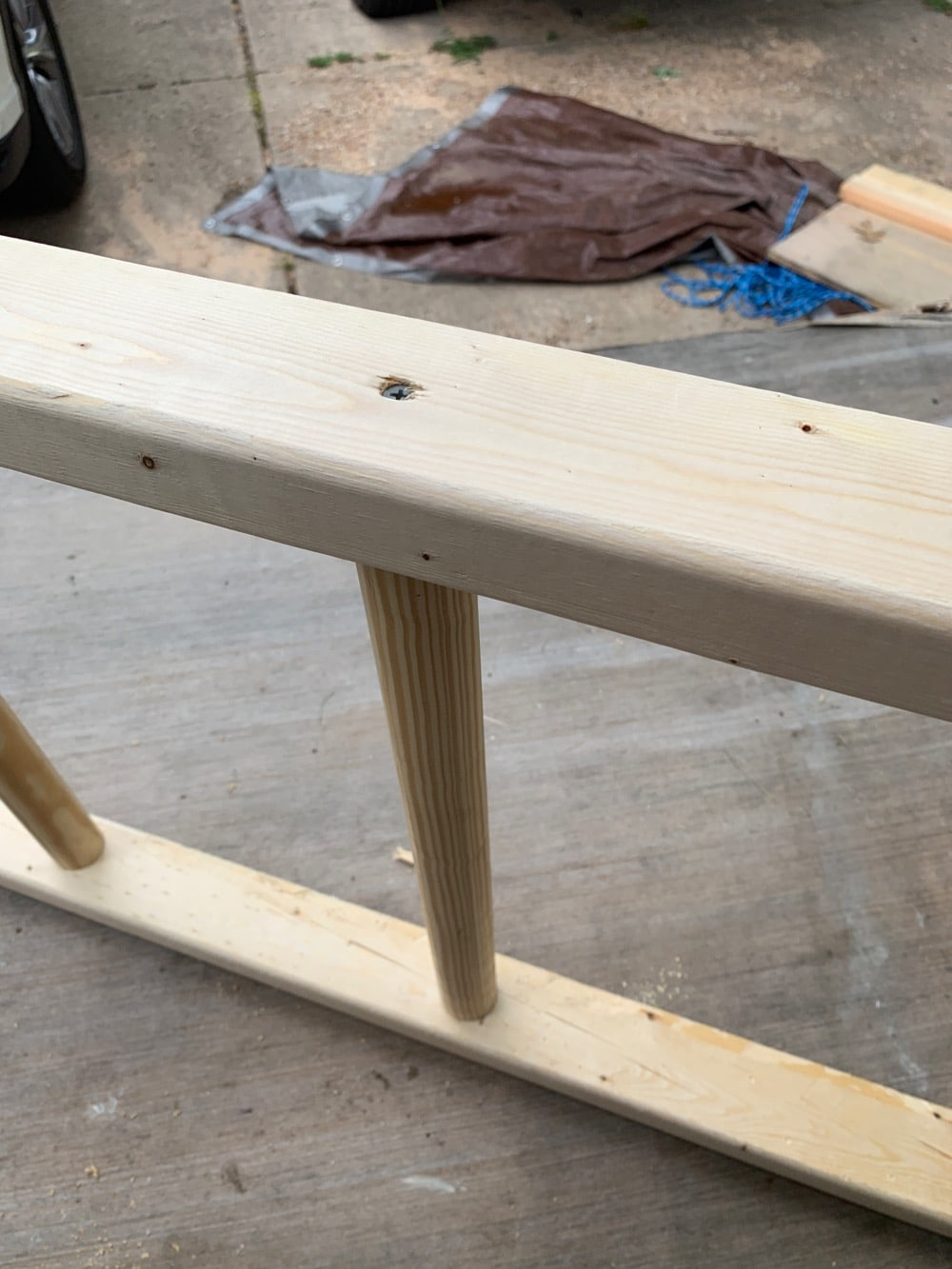 assembly of DIY decorative ladder