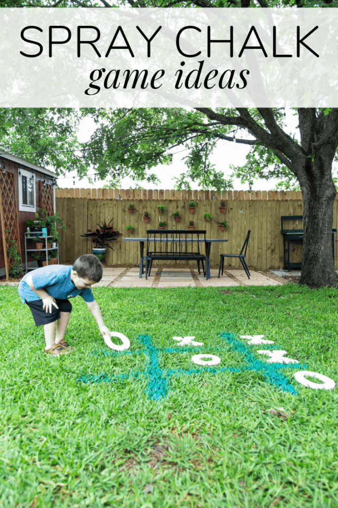 "a boy playing tic tac toe in the grass with a text overlay - ""spray chalk game ideas"""