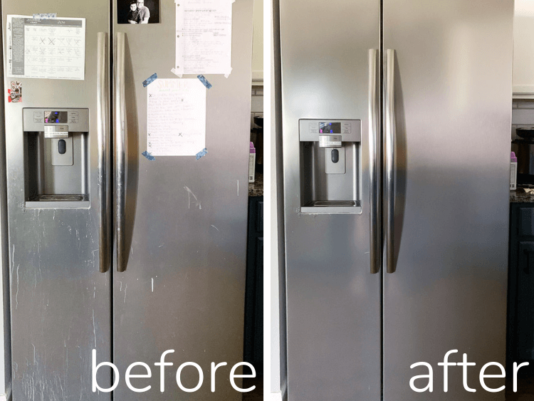 before and after of stainless steel refrigerator