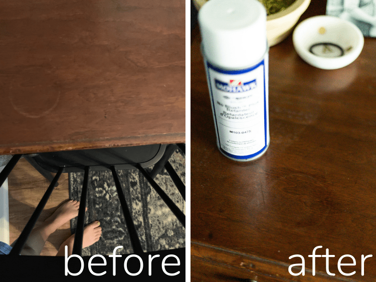 before and after of water ring on wood furniture